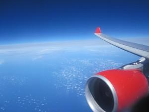 Aussicht aus dem Flugzeugfenster