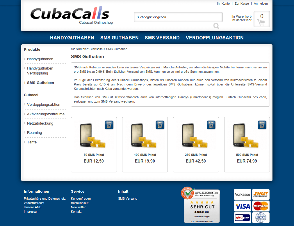 Cubacalls SMS Pakete