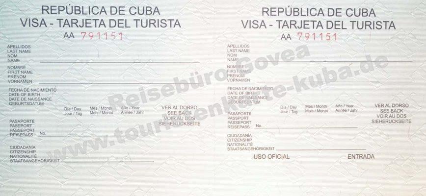 Kubanische Touristenkarte Vorderansicht